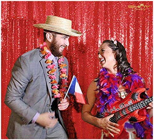 6FTX6FT Red SEQUIN PHOTO BACKDROP,Wedding Photo Booth,Photography Background,Ceremony Background (6FTX6FT)