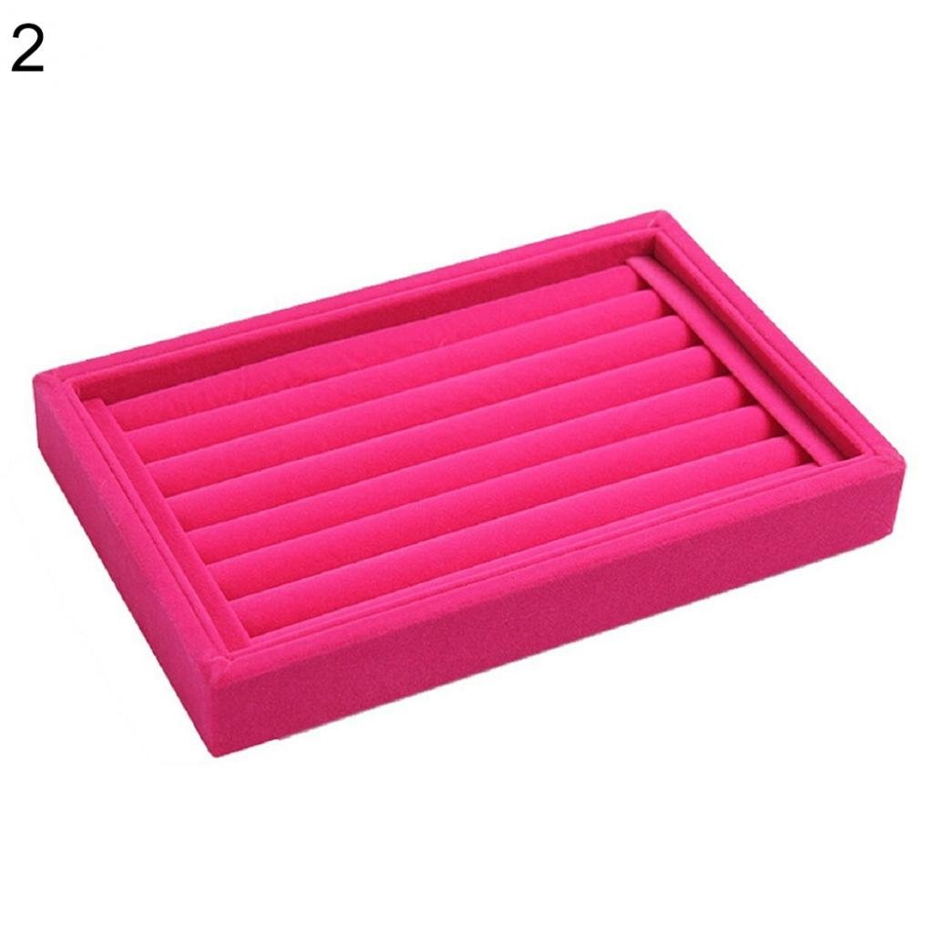 Geshiglobal Full Samt Ring Ohrringe Display Tablett Schmuck Storage Box Case Organizer Halterung Rose
