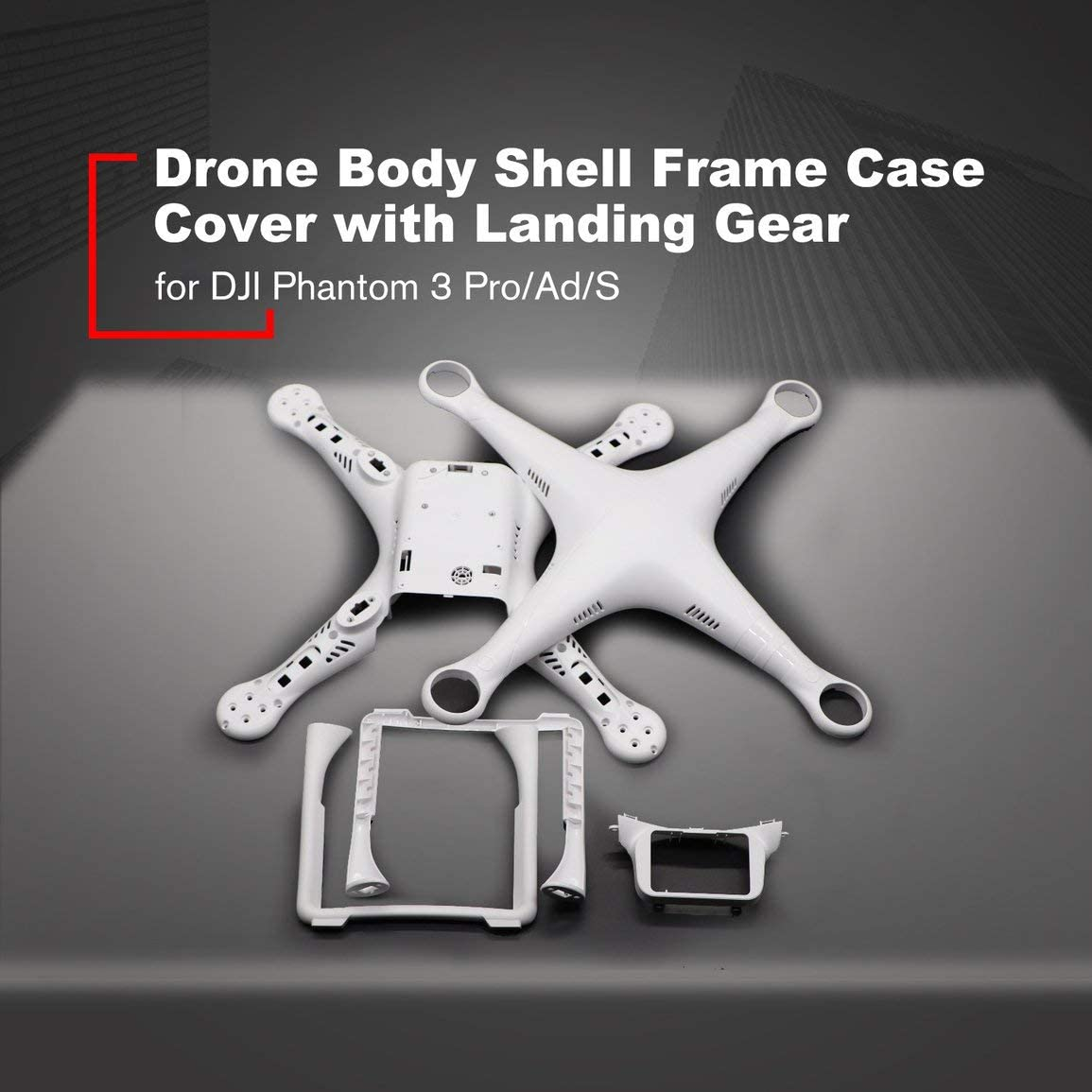 Drone K/örper Shell-Feld-Fall-Abdeckung mit Fahrwerk f/ür DJI Phantom 3 Professional Advanced Standard Quadcopter Ersatzteile