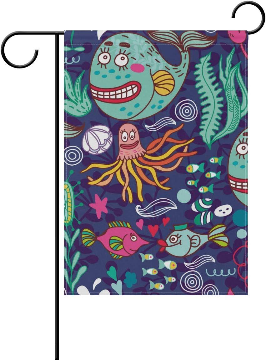 ALAZA Cartoon Whale Octopus Fish Decorative Garden Flag 12 x 18 inch Double Sided Yard Flag