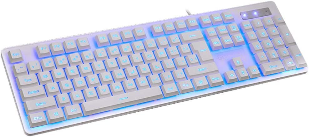Blue Breathing Backlight Multimedia Ergonomic USB Wired Game Keyboard for PCLaptop//Computer Color : White Guanwen Gaming Mechanical Feel Keyboard