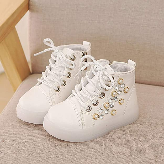 Amazon.com   OCEAN-STORE Children Baby Girls 12 Months-6T Pearl Crystal Led Light Sport Shoes Blue   Sneakers