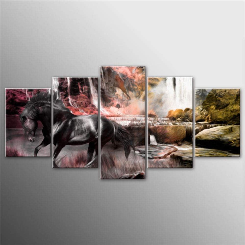 LHMTZ Cinco módulos, pinturas decorativas 150*100CM 5 piezas Naturaleza Animal Arte de la pared Caballo Impresiones Waterfull Cartel Lienzo Pintura Cuadros modulares para sala de estar Dormitorio Deco