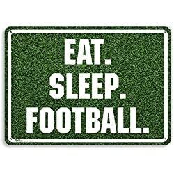 "PetKa Signs and Graphics PKFB-0026-NA_10x7""Eat. Sleep. Football."" Aluminum Sign, 10"" x 7"", White on Grass Photo"