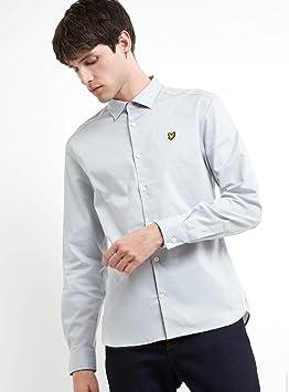Lyle & Scott Camisa de Popelina Gris Plateada Celeste de Corte Slim: Amazon.es: Juguetes y juegos