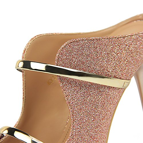 Lentejuelas Nocturno Americana Y Verano Zapatillas Zapatos Europea Tacón De Cool Sexy Xiaoqi Con Nueva Finos Rosado Palabra Tela Club Alto Moda xBqwOatnY