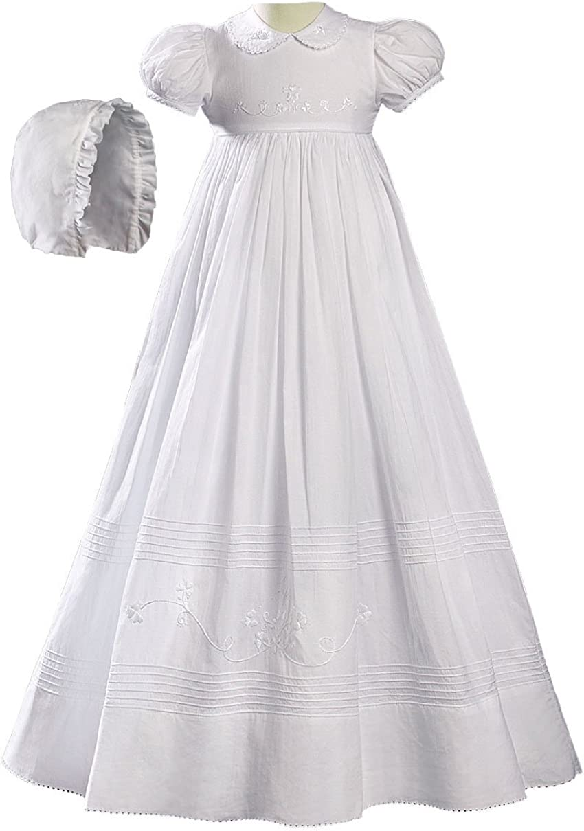 Little Things Mean A Lot Girls Cotton Short Sleeve Dress Christening Gown Baptism Gown with Laces and Ribbon
