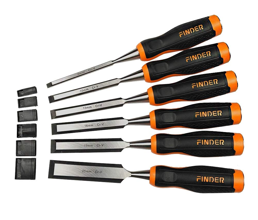 FINDER Wood Chisel Set with Hammer End for Woodworking, Carving,6-Piece by FINDER