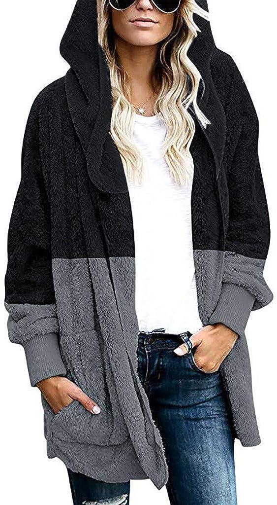 Women Winter Casual Hooded Cardigan Coat Fuzzy Fleece Open Front Winter Fashion Warm Plus Size Long Jacket Coats