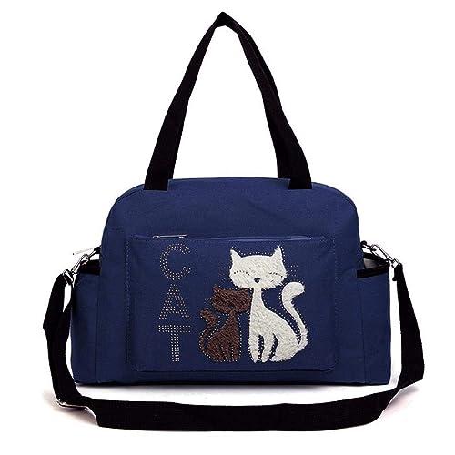 Kuerli Moda mujer lienzo compras bolso lindo gato patrón cremallera bolsa de hombro Bolsos bandolera: Amazon.es: Zapatos y complementos