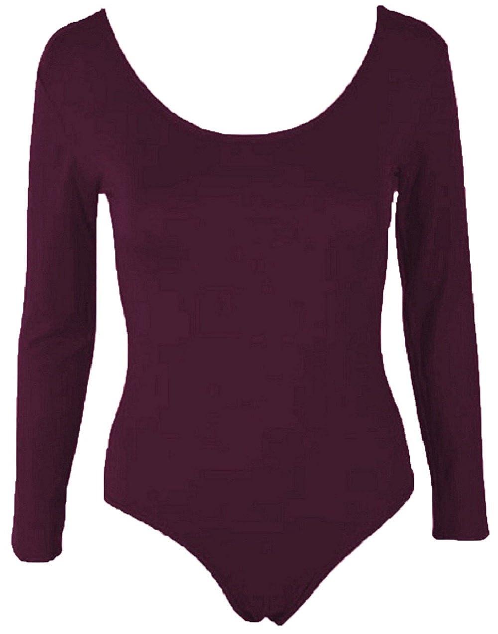 HOT HANGER Womens Long Sleeve Bodysuit Leotard Top 8-14 FB-11
