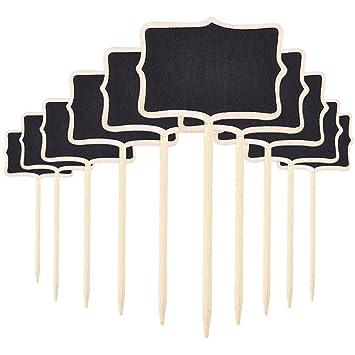 ultnice 10pcs Mini Pizarra para niños rectangular pizarra para señal de planta mensaje etiqueta para casa jardín