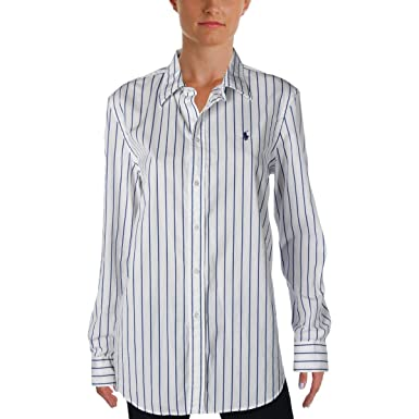 99f8e6388e3 Polo Ralph Lauren Womens Relaxed-Fit Striped Button-Down Shirt White ...