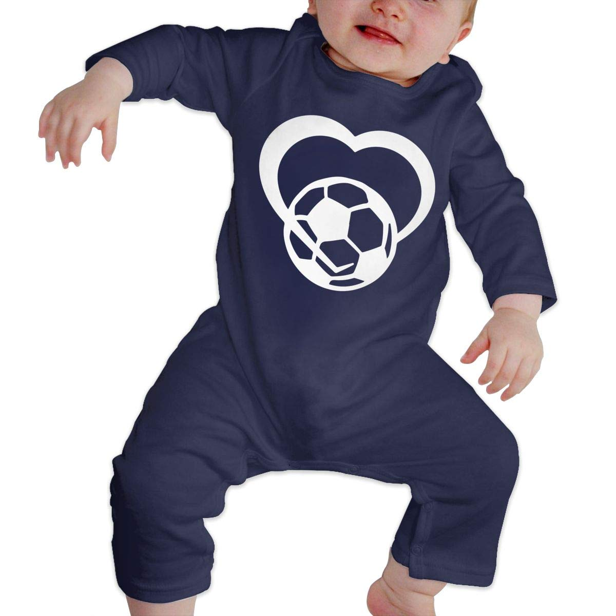 Newborn Baby Long Sleeved Coveralls Soccer Ball Heart 2 Kid Pajamas