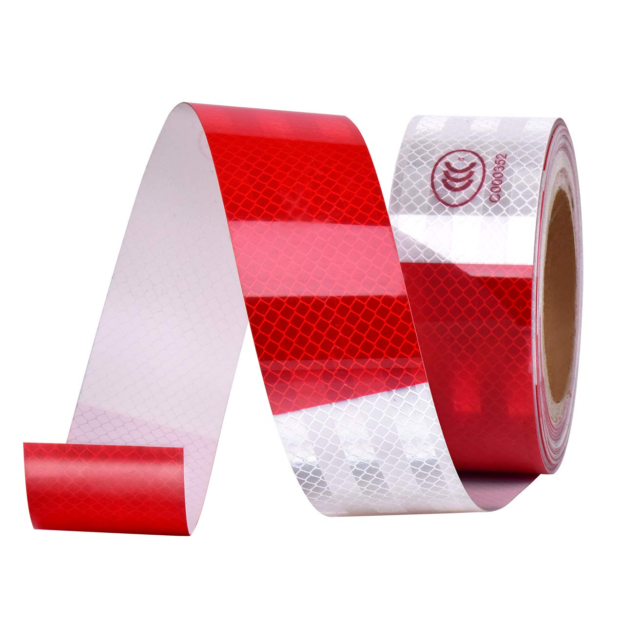 DEDC Waterproof DOT-C2 Reflective Red/White Tape,Conspicuity Safety Warning Self-adhesive Tape for Trailers Agricultural Equipment Vehicles Helmet Cars Bicycles Motorcycle (50 feet)