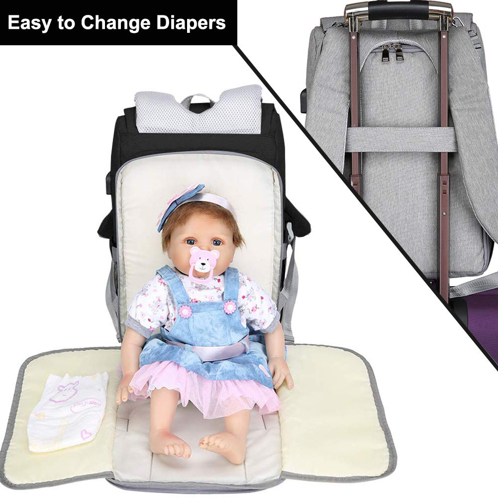 Travel Back Pack Waterproof and Stylish Diaper Bag Backpack Black Multifunction Maternity Nappy Bag Changing Bags Large Capacity