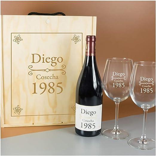 Calledelregalo Regalo Personalizado para cumpleaños: Kit Que Contiene Botella de Vino Personalizada y Copas de Vino grabadas, en Caja de Madera también Personalizada: Amazon.es: Hogar