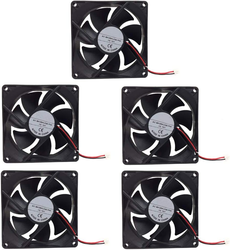 KOOBOOK 5Pcs DC 12V 2 Pin Square Cooling Fan for Frequency Converte Automatic Control Equipment Computer Case CPU Cooler Radiator 80mm x 80mm x 10mm