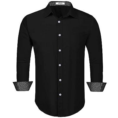 Aibrou Men's Long Sleeve Slim Fit Cotton Dress Shirt with Contrast Trim at Amazon Men's Clothing store
