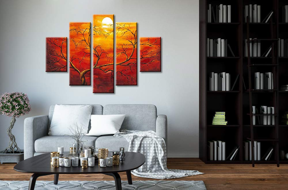 Okbonn-Large Tree Wall Art Oil Paintings on Canvas 5 Panels Hand Painted Orange Sunset Art Stretched and Framed Abstract Wall Art for Living Room Bedroom Dining Room Home Decor OK027-X5