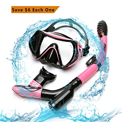 Diving Snorkel Set FYU with Diving Mask Tempered Glass, Dry Snorkel Set with Carry bag and Anti-Fog Lens for Adult Womens Mens(PINK-BLACK, DOUBLE (Womens Snorkel)