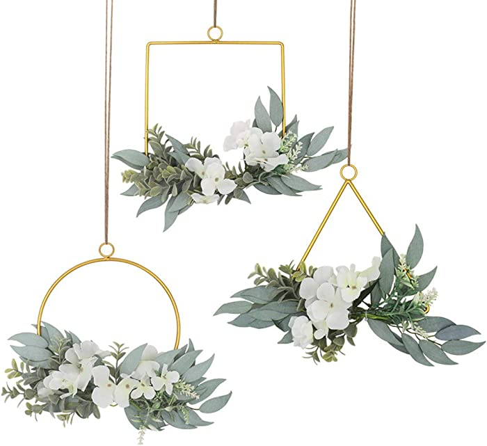 LSME Floral Hoop Wreath Set of 3 Metal Geometric Rings with Artificial Hydrangea Flower and Willow Leaves for Wedding Ceremony Backdrop Home Decor White