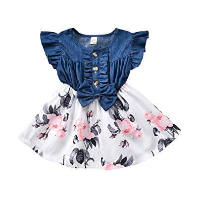 1-5t Toddler Kids Baby Girls Denim Patches Dress Cute Fly Sleeve Ruffle Dress Floral Print Bohemian Swing Beach Party Dresses: Clothing