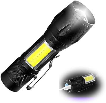 bajo Alto Estroboscópica Linterna Luz Recargable Ajustable Zoom Ahorro