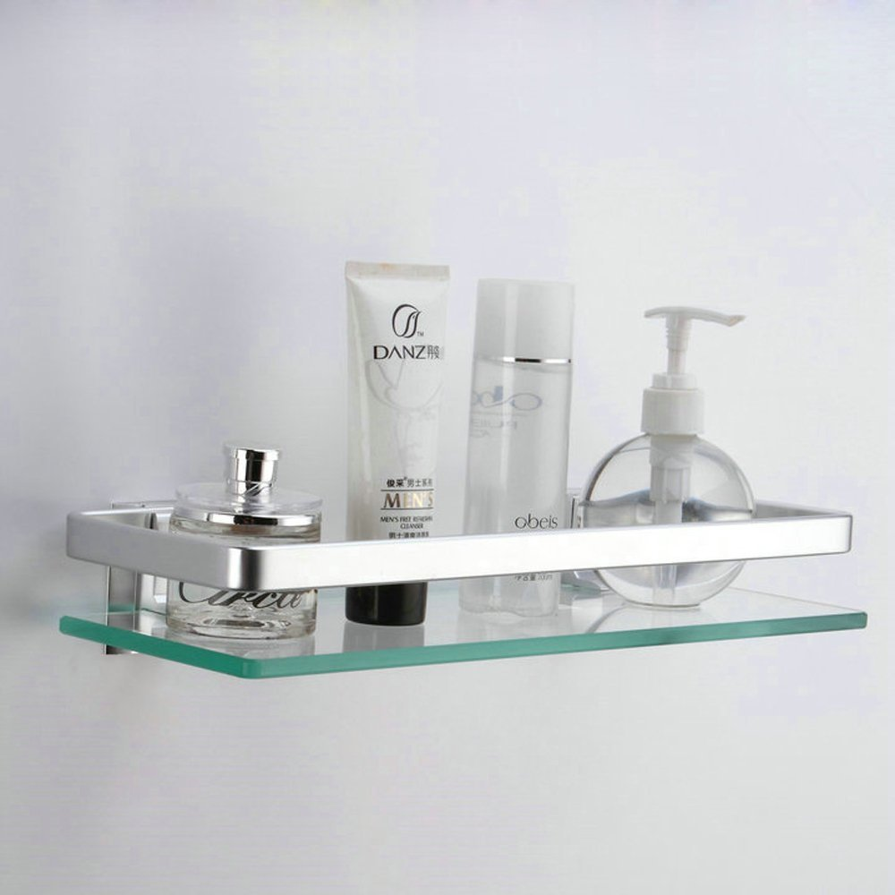 Kes Aluminum Bathroom Glass Rectangular Shelf Wall Mounted Tempered Glass Ebay