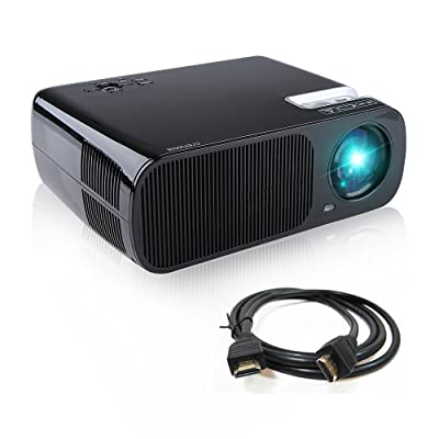 Projector, Crenova XPE600 LED Video Projector 2600 Lumens 800480 Resolution Office 1080P HD Home Cinema Theater Projector