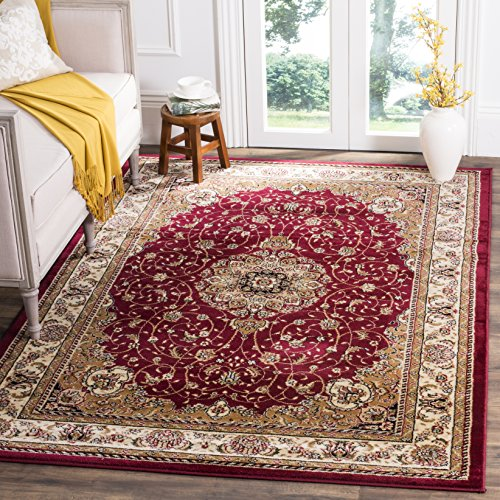 Safavieh Lyndhurst Collection LNH329C Traditional Medallion Square Area Rug, 6'/Square, Red/Ivory