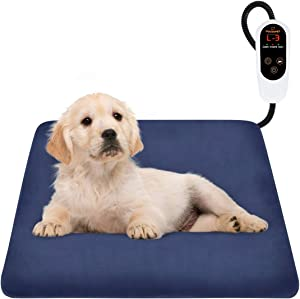 FOCUSPET Pet Heating Pad,Electric Dog Heating Pad Indoor Upgraded 6 Levels Temperature Adjustable Warming Bed 12 Timers Levels Auto Power Off with Waterproof Mat Removable Fleece Cover Resistant Cord