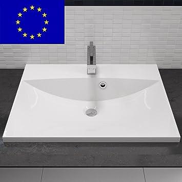 Waschbecken eckig mit unterschrank  Einbau-Waschbecken 60x46cm eckig | 60cm Einbau-Waschtisch zum ...