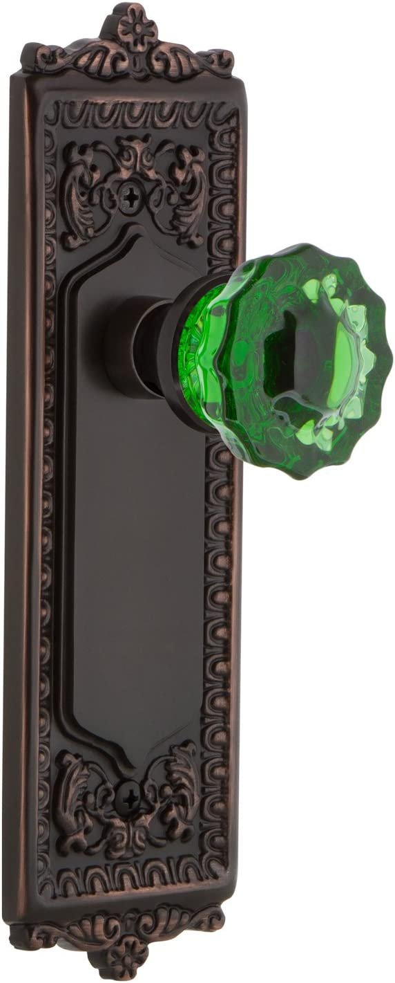 Nostalgic Warehouse 722327 Egg Dart Plate Single Dummy Crystal Emerald Glass Door Knob In Timeless Bronze Amazon Com