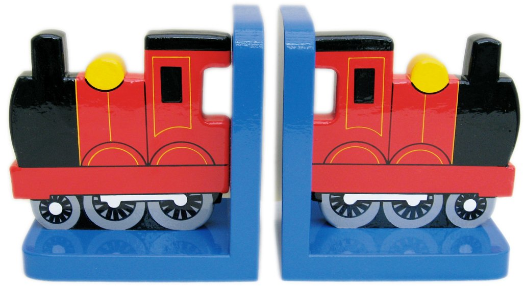 Red Train On Blue Wooden Bookends - Hand made in UK In a Roundabout Way 1202