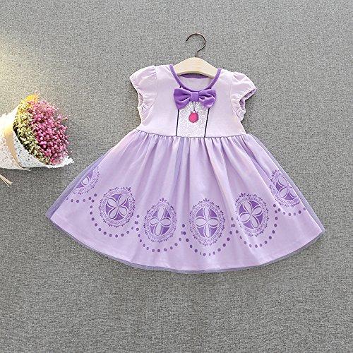 [해외] M154 작은 프린세스 소피어 프린세스 드레스 소피어 드레스 키즈 어린이용 드레스 소녀 아이 프린세스 드레스 드레스 변신(나리키리) 공주님 부드럽게 (90CM)