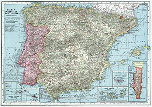 World Atlas | 1948 Spain, Portugal and Andorra. | Historic Antique Vintage Map Reprint by historic pictoric