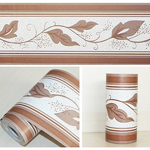 SimpleLife4U Peel & Stick Wallpaper Border for Kitchen Bedroom Removable Wall Borders Roll Retro Leaf