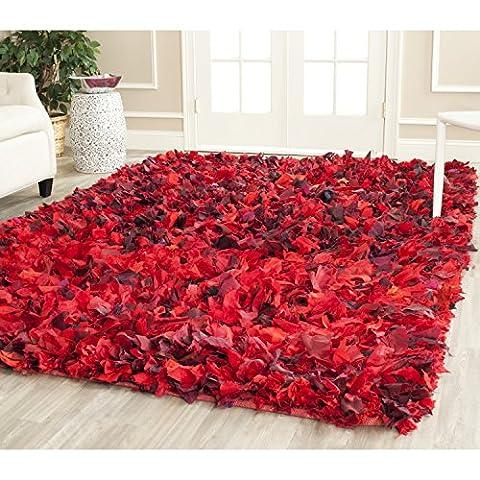 Safavieh Rio Shag Collection SG951E Handmade Red and Multi Polyester Square Decorative Area Rug (6' - Red Shag Carpet