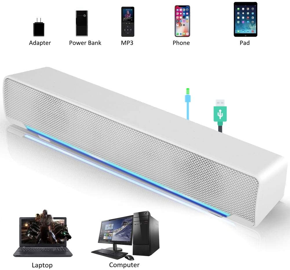 Speaker, Mini Speaker, USB Speaker PC Stereo Lightweight Wired LED Soundbar Speaker, Soundbar Soundbox, 3.5mm Audio Jack Compatible with PC Computer Tablet TV for Office Home Home Theater