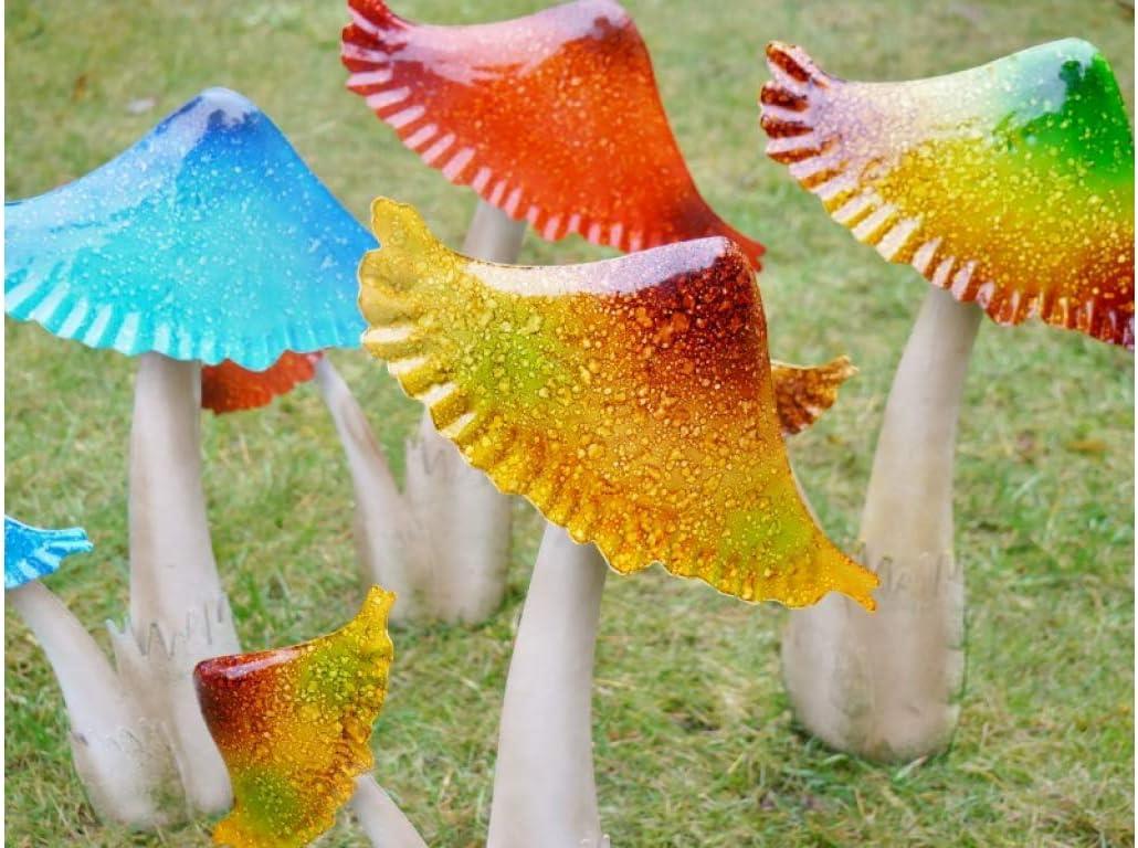 RubybyNight Toadstool Mushroom Garden Ornament Set of 4 Metal Lawn Stake Decorations 40 cm