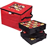 ProPik Christmas Ornament Storage Box, Organizer Holds Up to 48 Xmas Balls with 3 Separate Removable Trays, Container has Div