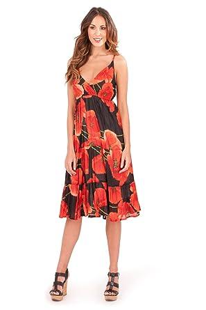 62442e6cd Pistachio Womens Poppy Print Cross Over Midi Summer Dress: Amazon.co.uk:  Clothing