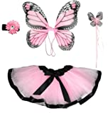 Girls Pink Butterfly Monarch Fairy Costume