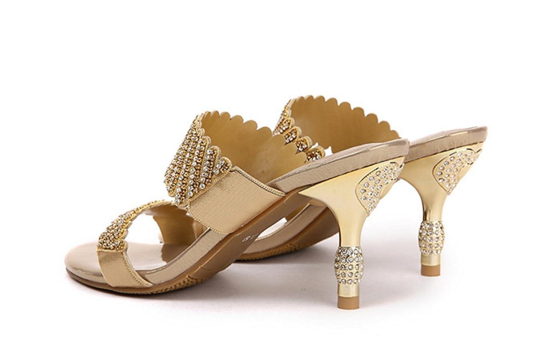 NBWE Damen Leder High Heels Heels Heels Sandalen und Hausschuhe Damen Strass Sandalen Sexy Hausschuhe 7cm Gold 917049