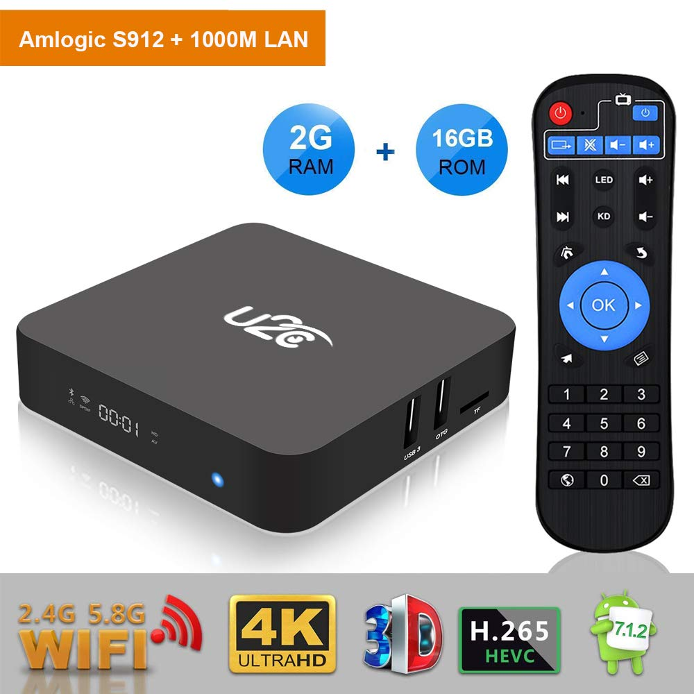 U2C Android TV Box 7.1 2gb Ram+16gb Rom 2018 Newest【Amlogic S912 Octa Core】 64 Bit 4K Full HD H.265 2.4G/5G Dual Band WiFi 1000M LAN BT 4.1 Z Plus Smart TV Box with LED Display by U2C