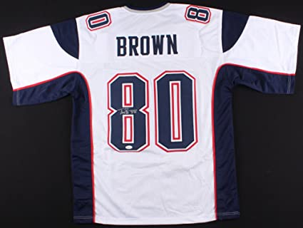 store troy brown new england patriots signed autographed white away jersey  d2926 9ba2e 99c5b0e3b