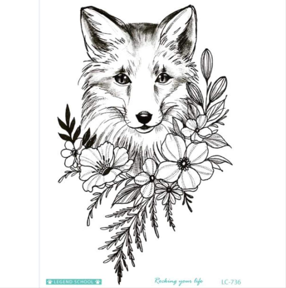 yyyDL Etiqueta engomada impermeable del tatuaje Arte Negro Sketch ...