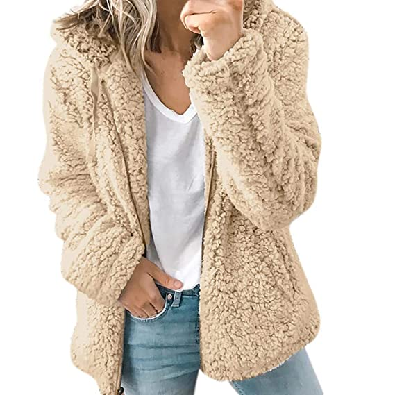 Amazon.com : Franterd Women Coat Casual Warm Winter Fuzzy Fluffy Cardigan Hooded Open Front Thick Parka Plush Outwear Jackets : Sports & Outdoors