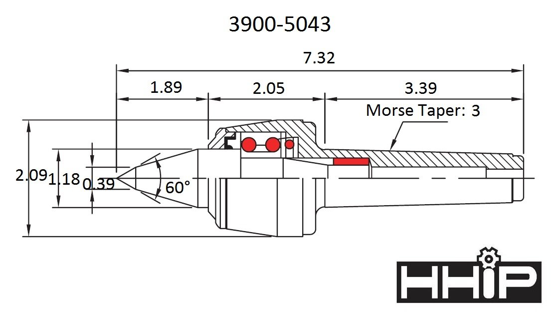 Load Rate 4000 Max RPM 7.09 OAL 200 lb 3 Morse Taper HHIP 3900-5033 Type A Pro-Series High Speed CNC Live Center